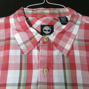Other - Red Plaid Timberland Button own Cotton 2XL 2TG